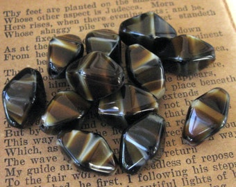 Chunky Tiger Eye Striped Czech Glass Bipyramid Beads 15x9mm New (12)