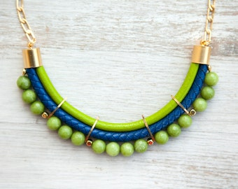 Meteorites Lime and Royal blue colors jade Necklace by Pardes