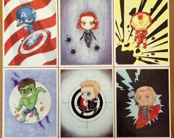 Chibi Avengers set of 6 Art Prints
