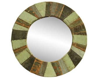 Round copper patchwork mirror
