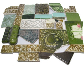 Green mixed variety tile set