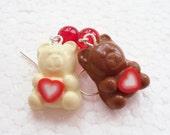 Valentine Chocolate Teddy Earrings. Polymer Clay.
