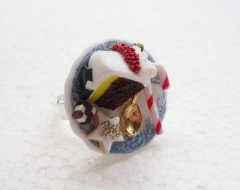 ChristmasTreats Ring. Polymer Clay.