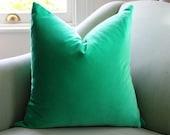 kelly Green Velvet Cushion Pillow Cover 12 x 18  Inch