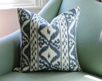Blue Ikat Cowtan and Tout Rapallo Cushion Pillow