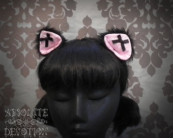 Pink Brocade/ Black Cat Ears With Bows - Absolute Devotion