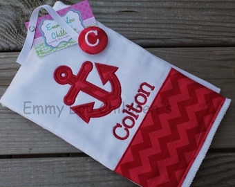 Baby Gift Set -  Burp Cloth and Pacifier Clip - Anchor - Personalized