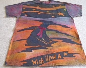 Black bear wishing upon a star, I mean who hasn't tried this, man's XL discharged & dyed shirt, procion dyes, small4size, check measurements