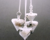 White Rainbow Moonstone Point Pendulum Pendant-- Moonstone Point Pendant with Silver Plated bail (S50B5-03)