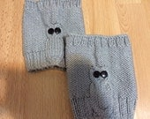 Knit Gray Woman Owl Boot Cuff, Leg Warmer, Usa Seller