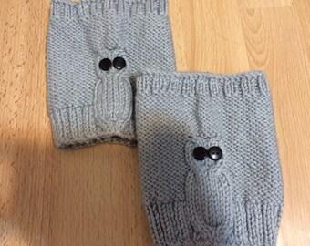 Knit Gray Woman Owl Boot Cuff, Leg Warmer, Usa Seller