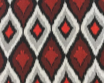 Japanese silk fabric, red, white, black diamonds
