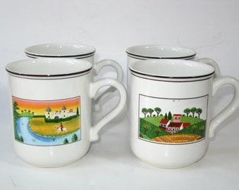 Set 4 Villeroy & Boch Design Naif Coffee Mugs Gerard Laplau - Country Farm Scenes