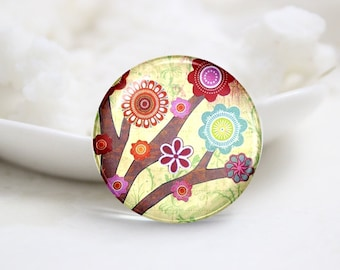 10mm 12mm 14mm 16mm 18mm 20mm 25mm 30mm Handmade Round Photo Glass Cabochons Cover-Flower (P1288)