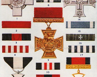 1950 Antique BRITISH MEDALS RIBBONS print 1, military orders, lithograph based chart