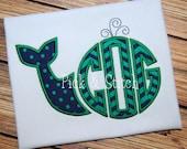 Boy's or Girl's Whale Monogram Applique - Summer Shirt - Monogram Design