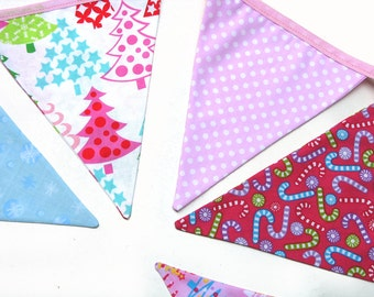 Christmas Bunting - Pink / Blue / White Flags . Stunning! - Xmas Party Handmade Banner Decoration . Made in Australia .