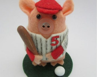 Billy the Baseball Pig - Pig Gift - Felt Pig