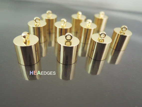 6pcs Gold End Caps 9mm - Findings Gold Plated Large Leather Cord Ends Cap with Loop 13mm x 10mm