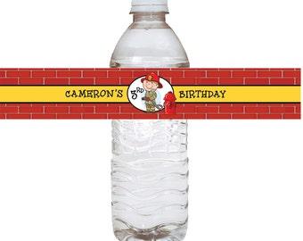 Fireman Water Bottle Labels -24 Quantity