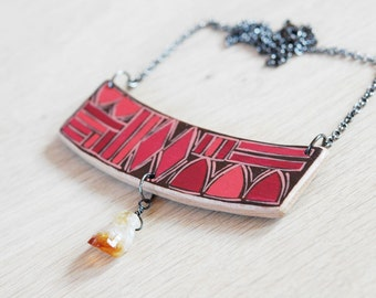 Hand painted wood necklace with citrine,red necklace, gemstone necklace,geometric necklace