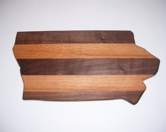 State of Iowa cutting board - made of walnut and oak