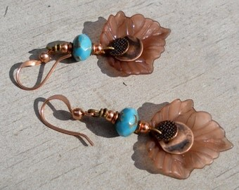 Turquoise Earrings Copper Lucite Leaf Earrings Picasso Beads Brown Earrings Nature Earrings