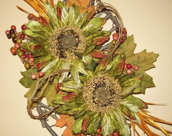 Pear Shaped Wooden Twig Wall Hanging has Green Sunflowers with Multi-colored Berries