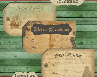 Grungy, Neutral Christmas Gift Tags Digital Download Sheet -  INSTANT Printable Download