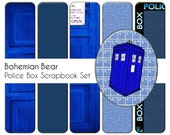 DIGITAL Scrapbook Kit, Digiscrapping Downloadable Graphics, Blue Police Box Background Paper & Elements