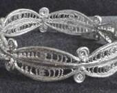 Vintage Woven German Silver Wire Bangle Bracelet