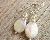 White Pearl Earrings.Genuine Freshwater Pearl Dangle Earrings.Silver Wire Wrapped Pearl Drop Earring.Pearl Jewelry.Pearl Bridesmaids Jewelry