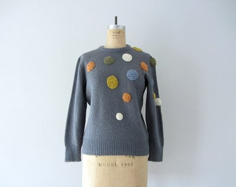 Vintage polka dot sweater . 1980s wool sweater