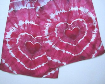 Tie-dyed Heart Scarf in Red Violet, Lightweight Cotton