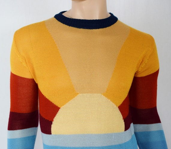 Vintage 1970's COLLAGEMAN Men's SuN RaY CoLoR BLoCkeD KeLsO ReTrO Rainbow HiPPiE HiPSTeR Sweater Size M