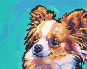long haired Chihuahua portrait modern Dog art print of pop art painting bright colors 13x19