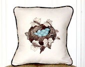 "shabby chic, feed sack, french country, vintage robin's nest graphic with floral welting 14"" x 14"" pillow sham."