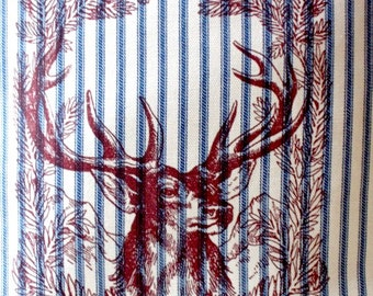 """shabby chic, feed sack, french country, vintage reindeer Christmas graphic on navy and cream ticking stripe 14"""" x 14"""" pillow sham."""