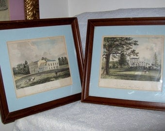 Antique 1830s Hand Colored Lithographs Framed and Matted Pair Just 42 USD