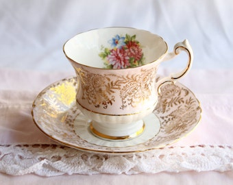 Vintage Paragon Teacup, English Queen Majesty Bone China Pink Floral & Gold