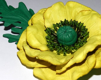 Leather flower brooch Poppy! Poppy - leather flower!Choose your color!