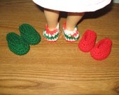 "slippers shoes 3 Pairs Hand-Crocheted for 18 inch 18"" dolls will fit American Girl green red"