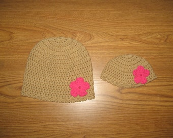 """Matching Crocheted Hats for 18"""" American Girl Dolls - also fits Bitty Baby -  and Girls"""