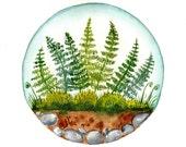 Original watercolor painting Fern and moss garden terrarium Nature wall decor
