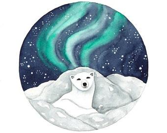 Original Watercolor painting Polar Bear and Northern lights art Winter illustration