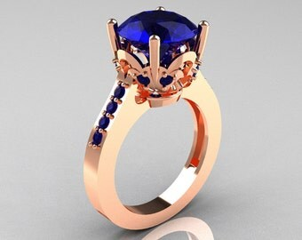 Classic 14K Rose Gold 3.0 Carat Blue Sapphire Solitaire Wedding Ring R301-14KRGBS