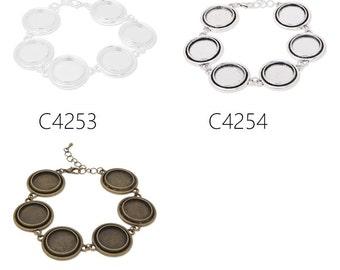 5pcs bracelet with 6pcs 18mm bezels, fit 18mm round cabochons