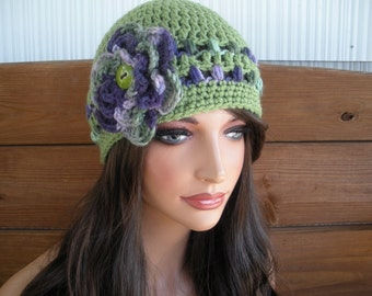 Womens Hat Crochet Hat Cloche Winter Fashion Accessories Women Beanie Hat in Sage green with Multicolor Crochet stripes and Flower