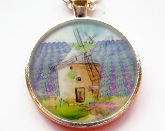 Rustic Windmill Resin Necklace - Whimsical Fantasy Art Resin Pendant - Wearable Art Necklace - Image in Resin Jewellery - Art Jewelry