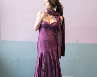 Purple Formal Dress with Wrap / Prom Gown